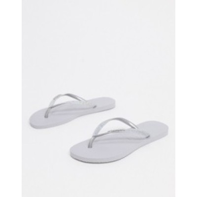 ハワイアナス レディース サンダル シューズ Havaianas slim sparkle flip flops in gray Steel gray