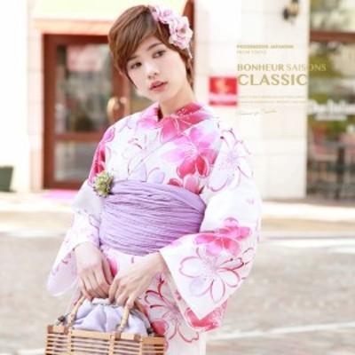 浴衣セット レディース レトロ 浴衣セット 大人 3点セット ピンク 白 ホワイト 紫 桜 花 綿麻 兵児帯 女性 ボヌールセゾン
