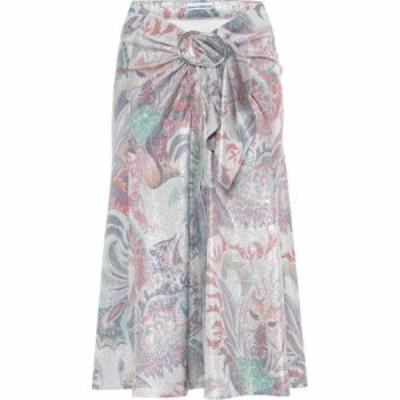 パコラバンヌ Paco Rabanne レディース ひざ丈スカート スカート Printed metallic midi skirt Silver Psyche