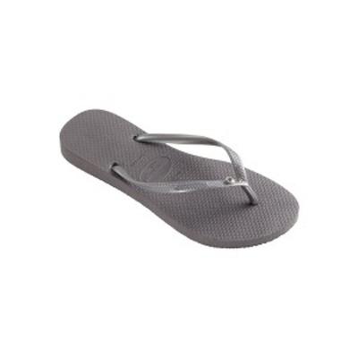 ハワイアナス レディース サンダル シューズ Women's Slim Crystal Glamour Flip Flops Steel Gray