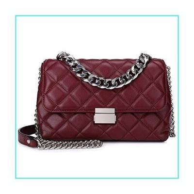 【新品】Quilted Leather Crossbody Bags for Women Designer Convertible Styles Shoulder Handbags Purse with Metal Chain Wine Red(並行輸入品