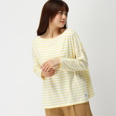 Tシャツ カットソー プルオーバー レディース ドロップショルダープルオーバー[日本製] 「ホワイト×イエロー」
