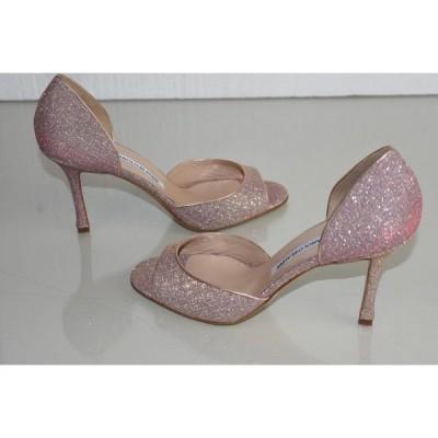 ハイヒール マノロブラニク Manolo Blahnik CASAMADO PUMPS Dorsay Glitter NUDE Pink Shoes 40.5
