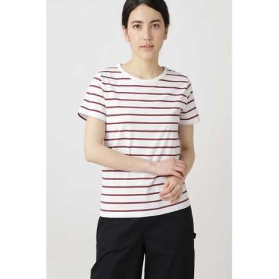 HUMAN WOMAN/ヒューマンウーマン 新きょう綿ボーダーTシャツ シロ×アカ3 M