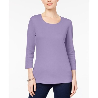 ケレンスコット カットソー トップス レディース Petite Cotton 3/4-Sleeve Top, Created for Macy's Lilac Sachet