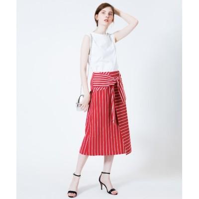 【アルアバイル/allureville】 ボーダー切替リボンスカート
