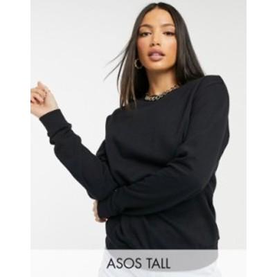 エイソス レディース シャツ トップス ASOS DESIGN Tall ultimate organic cotton sweatshirt in black Black