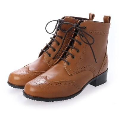 モデロ MODELLO ロングスカートやパンツスタイルにも合う♪レースアップ・ブーツ DML7107 (キャメル)