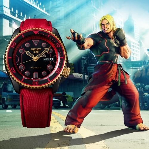 SEIKO 5 快打旋風Street Fighter V聯名腕錶-KEN肯(SRPF20K1)