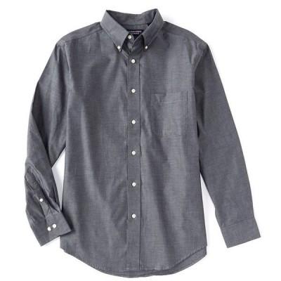 ランドツリーアンドヨーク メンズ シャツ トップス Long-Sleeve Solid Pinpoint Oxford Sportshirt Black