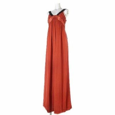 【中古】グレースクラス GRACE Class ワンピース ドレス ロング ノースリーブ ビーズ装飾 リボン シルク 赤系 36 ECR3 レディース