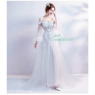 ロングドレス 二次会 ウェティグドレス 安い 前撮り ワンピース 発表会 おしゃれ パーティードレス 結婚式 花嫁 挙式 Aラインドレス カラードレス