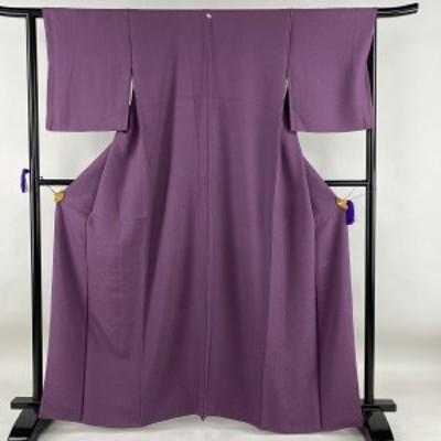 色無地 秀品 一つ紋 地紋 紫 袷 身丈162.5cm 裄丈64cm M 正絹 中古