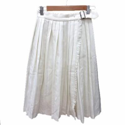 【中古】マカフィー MACPHEE トゥモローランド プリーツスカート ラップ ミモレ ロング 36 白 ホワイト レディース