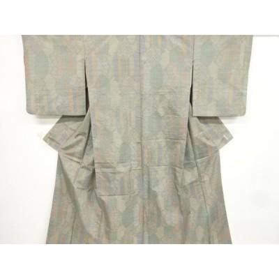 宗sou 亀甲に幾何学模様織り出し本場泥大島紬着物【リサイクル】【着】