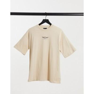 エイソス レディース シャツ トップス ASOS DESIGN t-shirt with luxury logo graphic in stone Beige