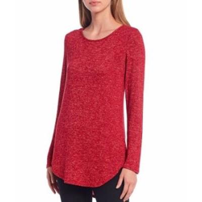 カルバンクライン レディース Tシャツ トップス Knit Jersey Long Sleeve Hi-Low Tunic Rouge