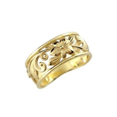 リング ゴールド ハワイアンジュエリー ピンキーリング指輪 幅広 透かし イエローゴールドk18 ハワイアンリング 地金リング 18金 k18yg ストレート 送料無料