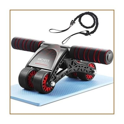 ANCHEER Ab Roller for Abs Workout - Ab Wheel Roller with Knee Mat and Resistance Rope for Home Gym Exercise, 3-in-1 4 Wheel Abs Wheel Roller Workout E