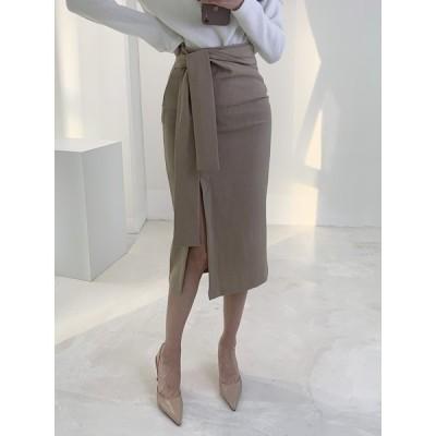 ハイウエストスリットスカート ミドル丈 モテコーデ 春 通学 通勤 韓国 ファッション 送料無料