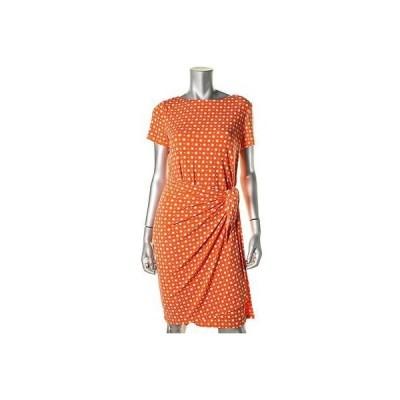 ジョネスニューヨーク ドレス ワンピース Jones New York 9379 レディース オレンジ Polka Dot ラップ Wear to Work ドレス M BHFO