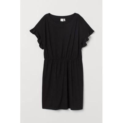 H&M - リネンブレンドワンピース - ブラック