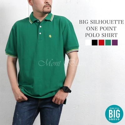 ポロシャツ メンズ 半袖 ビッグシルエット 無地 大きいサイズ シンプル ワンポイント 白 黒 赤 緑 紫