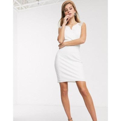 モーガン ミディドレス レディース Morgan lace insert zip through knitted bodycon dress in white エイソス ASOS ホワイト 白