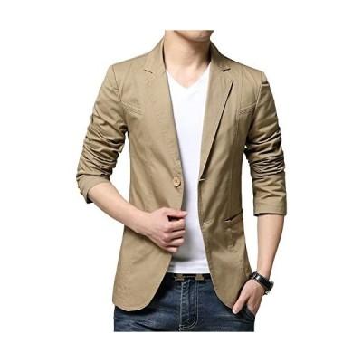 (チーアン) Tiann メンズ ジャケット スーツ 生地 カジュアル コート ビジネス ジャケット テーラードジャケット (カーキ 5L)