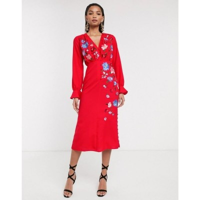 エイソス ASOS DESIGN レディース ワンピース ミドル丈 ワンピース・ドレス embroidered button front midi tea dress with fluted sleeve レッド