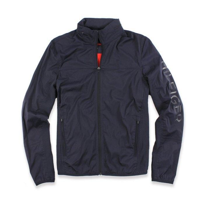 美國百分百【全新真品】Tommy Hilfiger 連帽 外套 立領 TH 夾克 輕量 風衣 深藍 XS S號 I588