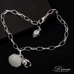 【DINA 蒂娜珠寶】和田白玉蓮蓬 925純銀手鍊(YH73007)