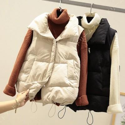中綿ベスト フードなし ショートベスト ベスト ジャケット アウター ベスト 防寒ベスト ウルトラライトダウン ノースリーブ あったか 大きめサイズ 体型カバー
