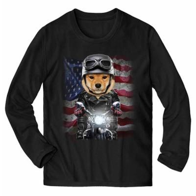 【仔犬の 柴犬 ドッグ 犬 いぬ バイク 星条旗 アメリカ】メンズ 長袖 Tシャツ by Fox Republic
