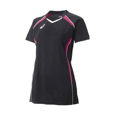 アシックス(asics) W'SゲームシャツHS XW1317 ブラック×ベリー バレーボール レディース トレーニングウェア 半袖
