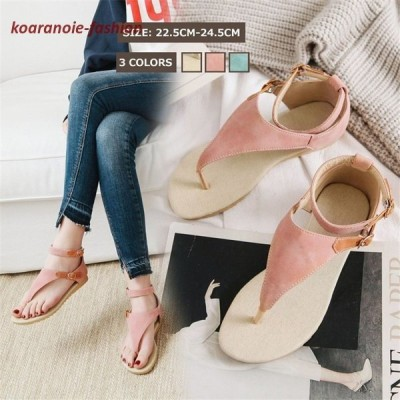 大きいサイズサンダル20代親子靴サンダルストラップ付き ピーチサンダルフラットヒール夏靴サンダルパーティー靴22cm〜25cm通学通勤オフィス靴30代全3色
