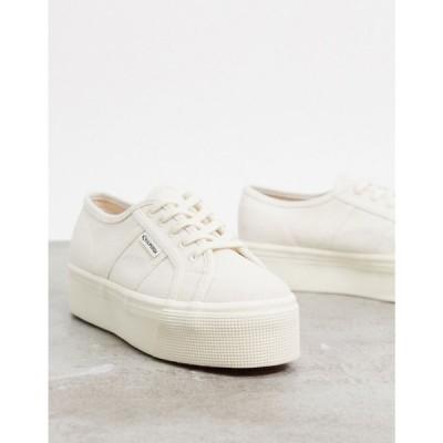 スペルガ Superga レディース スニーカー シューズ・靴 2790 organic cotton flatform trainers in cream ナチュラルベージュ
