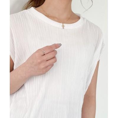 JUNOAH / フレンチスリーブプリーツメロウカットソー WOMEN トップス > Tシャツ/カットソー