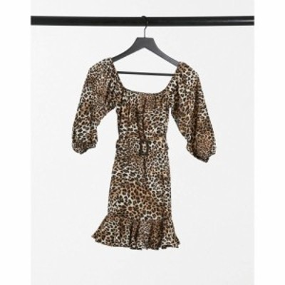 アイソウイットファースト I Saw It First レディース ワンピース ミニ丈 ワンピース・ドレス Print Bardot Belted Frill Mini Dress In