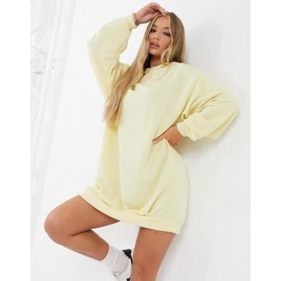 エイソス レディース ワンピース トップス ASOS DESIGN mini sweatshirt hoodie dress in buttermilk