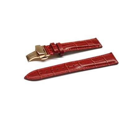 腕時計 ベルト 16mm 17mm 18mm 19mm 20mm 21mm 22mm 24mm レザー クロコダイル型押し 牛 革 赤 プッシュ式 Dバックル ピンク ゴールド l001re-pd-p