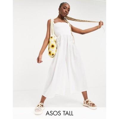 エイソス ASOS Tall レディース オールインワン ジャンプスーツ ワンピース・ドレス Tall Shirred Elastic Back Jumpsuit In White ホワイト