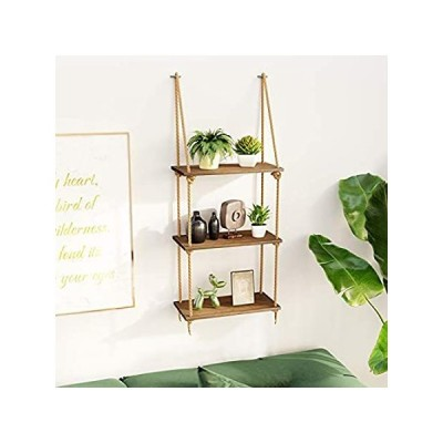 BAMFOX 壁掛け棚 ブランコロープ フローティングシェルフ 3段竹製ハンギングストレージシェルフ リビングルーム/ベッドルーム/バスルーム/キッチ 並行輸入品