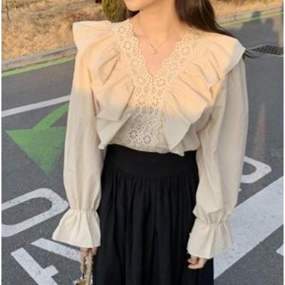 ブラウス レディース 長袖 白 レース シャツ 韓国 ファッション トップス Vネック フリル 無地 ゆったり 上品 きれいめ 大人可愛い レト