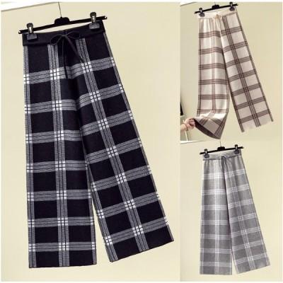 全3色 パンツ バイカラー 体型カバー 着痩せ 切り替え カットソー チェック柄 シンプル