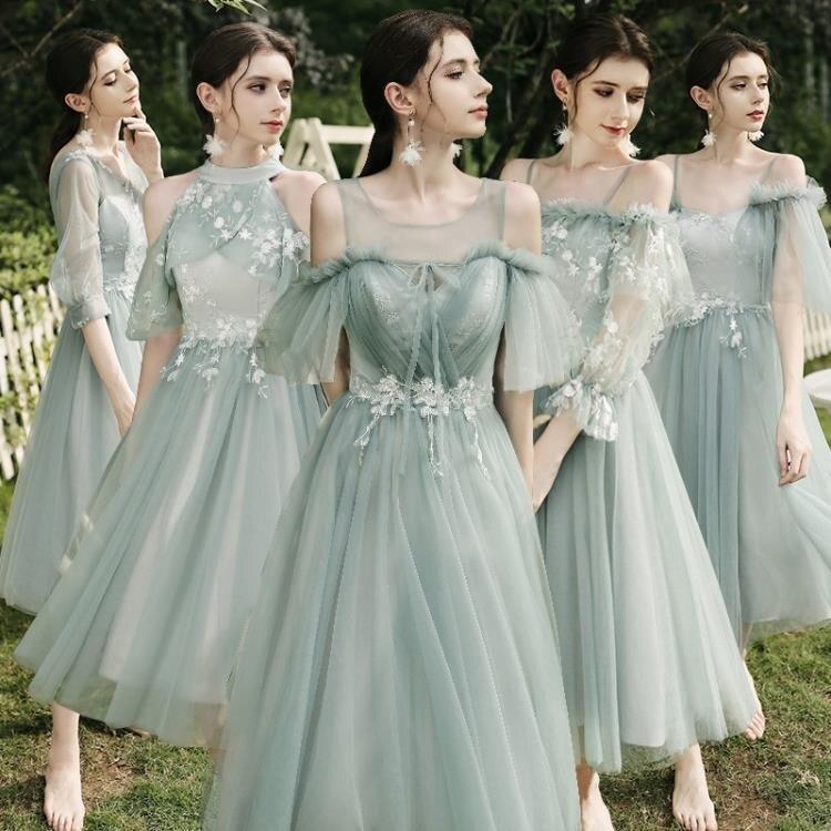 森系伴娘服夏季伴娘禮服裙仙氣質顯瘦中長款姐妹團洋裝 快速出貨