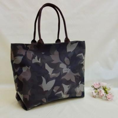 チュール素材 軽量 バッグ トート 大 日本製 〜 フラワー迷彩チョコレート〜水着素材マスクプレゼント
