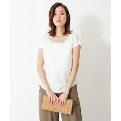(SocialGIRL/ソーシャルガール)美ラインシンプルベーシックTシャツUネック 無地/ロゴ/レディース ホワイト系1