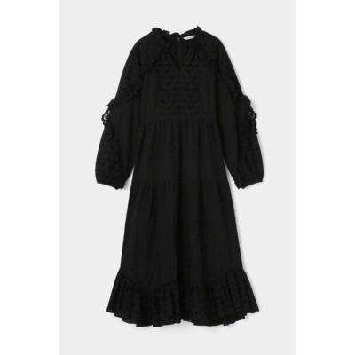 マウジー moussy EMBROIDERED LACE DRESS (ブラック)