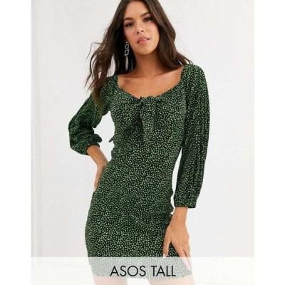 エイソス ASOS Tall レディース ワンピース ミニ丈 ワンピース・ドレス ASOS DESIGN Tall mini ditsy print plisse dress with knot front